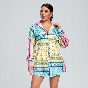 Beautiful Cardi Bandanna Printed Dress